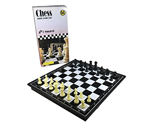 C-Squared Magnetic Chess Set | Small Portable Game for Travel with Magnet Pieces | Educational Game for Adults and Kids Plastic | 8'' x 8'' Folding Board by C-Squared