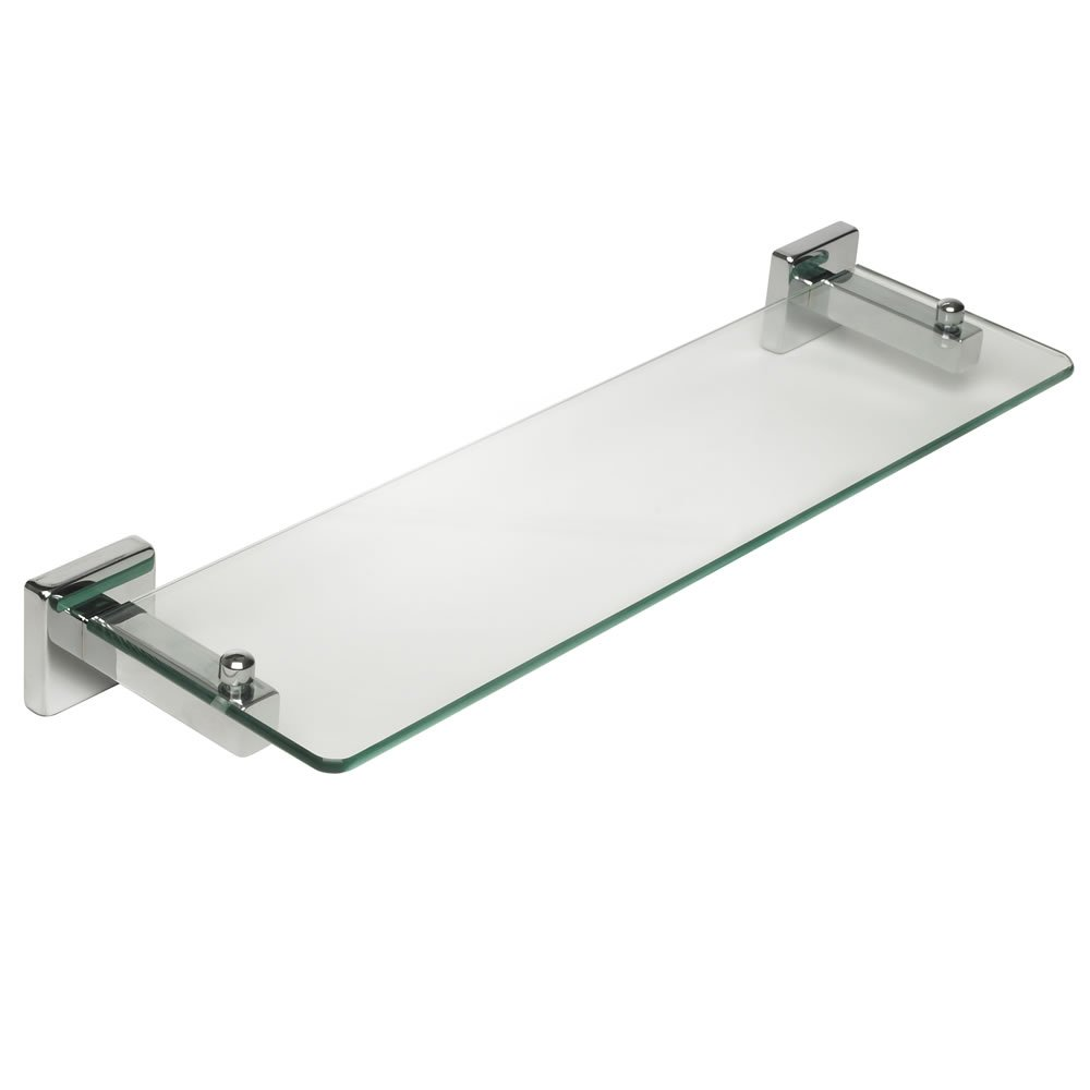 Glass shelving bathroom - Home Treats Square Polished Chrome Bathroom Glass Shelf Amazon Co Uk Kitchen Home