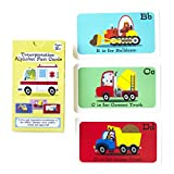 ALPHABET FLASHCARDS WITH FUN FACTS, KIDS LEARNING TOOL, ABC LETTERS (TRANSPORTATION)