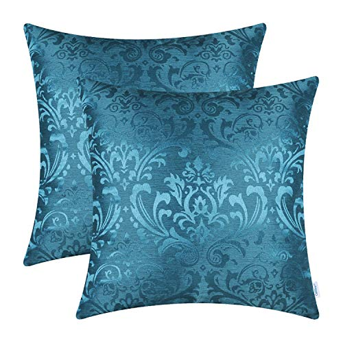 CaliTime Pack of 2 Throw Pillow Covers Cases for Couch Sofa Home Decoration Vintage Damask Floral Shining & Dull Contrast 18 X 18 Inches Deep Sea Blue