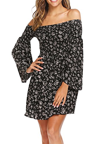 9a9279baa98 Beyove Women Floral Ruffle Off Shoulder Flare Long Sleeve Pleated High Waist  Swing Dress - Buy Online in Oman. | Apparel Products in Oman - See Prices,  ...