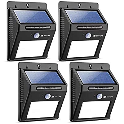 SMADZ Security Solar Motion Light 8 LEDs Auto On/Off Wireless Waterproof Super Brigiht for Outdoor Garden Wall Fence Step Driveway Stairs Gutter Yard Patio Pool