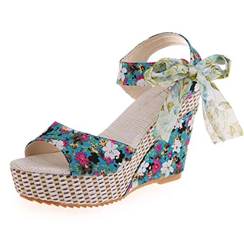 Lloopyting Women's Printed Platform Wedges Bow Ties and Beach Sandals Waterproof Holiday Women's Shoes Blue ()
