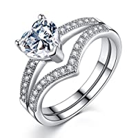 Bridal Sets Engagement Rings for Women made in 925 Sterling Silver 1ct Heart Cubic Zirconia by VIKI LYNN