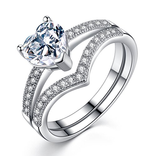 VIKI LYNN Promise Rings for Her 1ct Heart Cubic Zirconia 925 Sterling Silver Wedding Engagement Rings