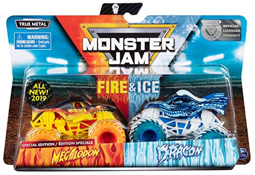 (MJ 2019 Spin Master Monster Jam Fire&Ice Megalodon and Dragon Special)