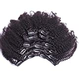 Afro Kinky Clip in Extensions Natural Hair,100% Brazilian Virgin Hair Clip in Human Hair Extensions,7Pcs/set,Color 1B 14inch 120gram/set