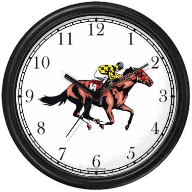 Thoroughbred Racehorse and Jockey Horse Wall Clock by WatchBuddy Timepieces (Black Frame)
