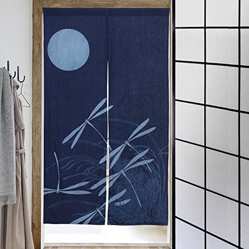 59 Inch Japanese Style Doorway Curtain Panel w/ Slit Opening, Dragonfly Print Window Tapestry, Navy Blue