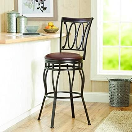 Peachy Amazon Com Adjustable 360 Swivel Barstool Wood Back Oil Alphanode Cool Chair Designs And Ideas Alphanodeonline