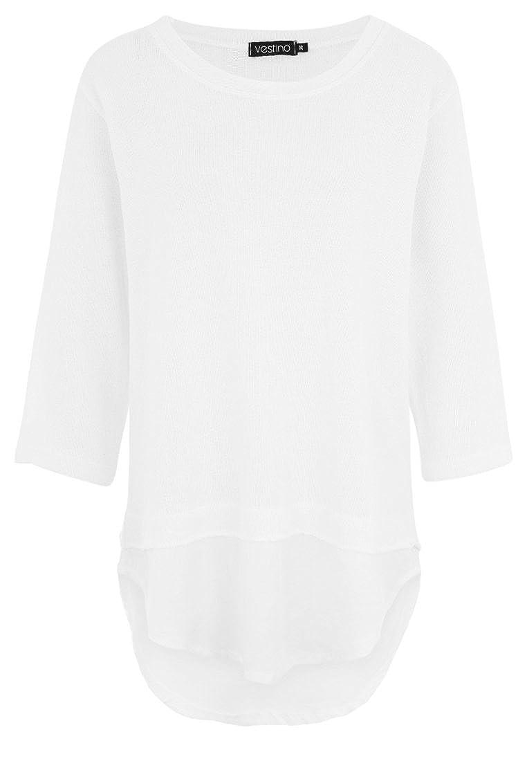 Vestino Damen Shirt Kurzarm V-Ausschnitt Feder-Print NEU