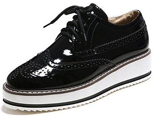 Summerwhisper Women's Trendy Round Toe Low Top Brogues Pumps Lace-up Platform Oxfords Shoes Black 10 B(M) (Oxford Lace Up Pump Shoes)