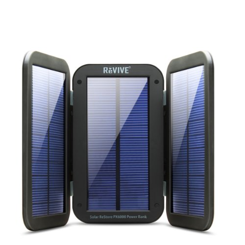 6000mAh Solar Power Bank Phone Charger with Emergency Backup 4W Solar Active Charging Folding Panels by ReVIVE - Lightweight & Portable USB External Battery Pack Ideal for Camping, Day Trips, Outages