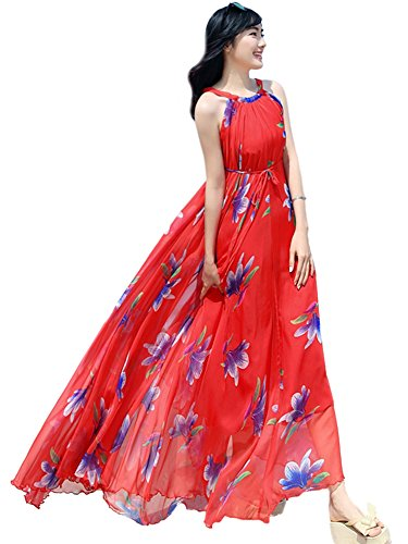 Chiffon Daffodil - Medeshe Women's Chiffon Floral Holiday Beach Bridesmaid Maxi Dress Sundress (Small Petite, Red Daffodil Floral)