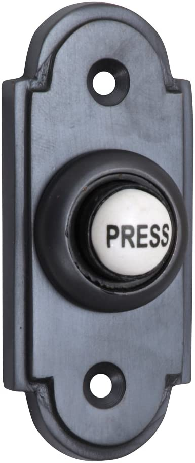 Pieds en forme de cloche Noir Antique avec bouton poussoir en porcelaine