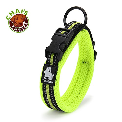 Chais Choice Best Padded Comfort Cushion Dog Collar for Small, Medium, and Large Dogs and Pets. Perfect Match Front Range Harness Leash. (Large, Green)