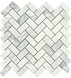 Carrara White 1x2 Herringbone Pattern Honed Mosaic Tile