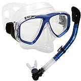 PROMATE Snorkeling Scuba Dive DRY Snorkel PURGE Mask Gear Set, Metal Blue
