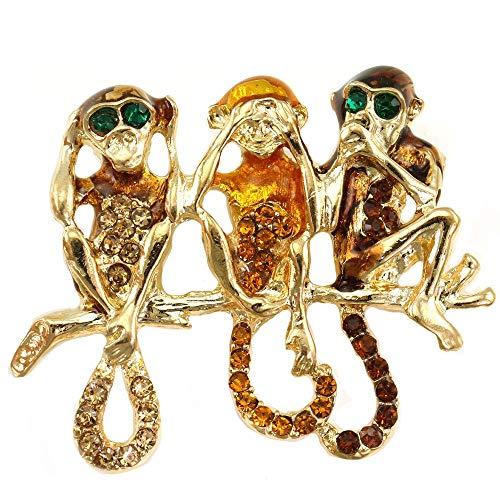 Soulbreezecollection Funny Three Chimpanzee Monkey Animal Pin Brooch Brown Rhinestone Fashion Jewelry