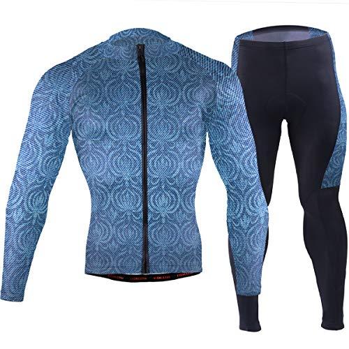 Reynoldss Caraaed Dark Chrysanthemum Denim Pattern Men's Cycling Jersey Short Sleeve Full Zip Bike Clothing Set Long Sleeve Mountain Bike Road Bicycle Shirt