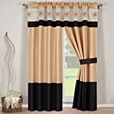 Cheap 5-PC Set 84″Wx84″L Madison Gold with Chocolate Window curtain set including 2 Panels, 2 Tie Backs and 1 Valance