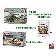 Bundle-Sluban Army UH-60L Black Hawk Helicopter B0509, 4 x WWII mini figure - 1 blister pack B0580, Land Forces II Hind Helicopter B0298.(Brand New in Original English Box) 100% LEGO Toy
