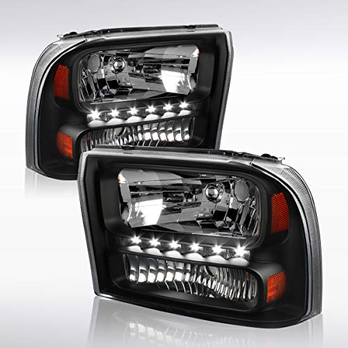 Piece 1 Headlights Euro (Autozensation Ford F250 F350 Superduty 00-04 Excursion Black LED 1PC Style Headlights)