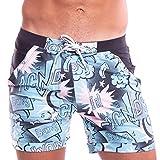Taddlee Men Swimwear Swimsuits Flower Print Surf Board Boxer Shorts Trunks Long (S,XF76)