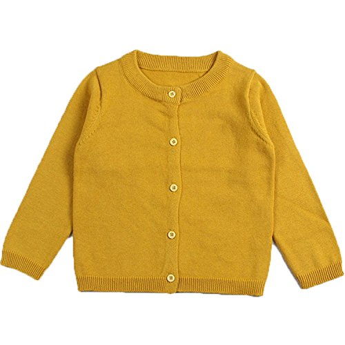 Baby Boys Girls Button-down Basic Crew Neck Solid Cardigan Toddler Cotton Knit Sweater (12-18 Months/80cm, Ginger) ()