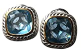 10x10mm Blue Topaz Cushion CZ Stud Cable Twisted Earrings 14k white gold plated