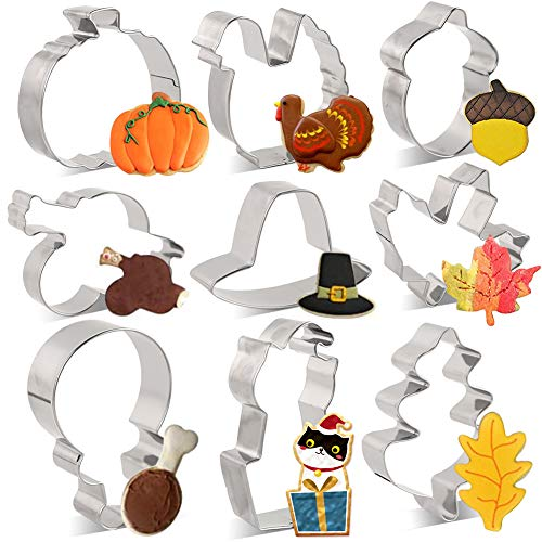 LOVEINUSA Thanksgiving Cookie Cutters, 9 Pcs Autumn Cookie Cutter Set Fall Themed Cookie Cutters Stainless Steel Cookie Cutters for Pancakes Cakes Play Doughs