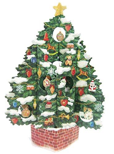 Christmas Tree Pop Up Christmas Greeting Card - Pop Up 3D Decorative Christmas Card