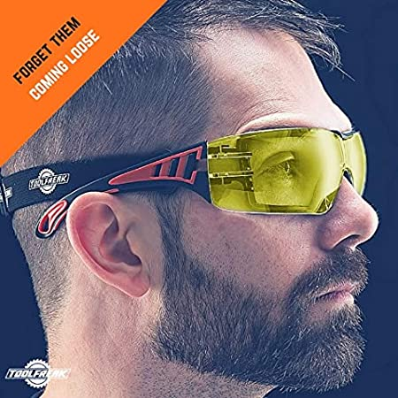 ToolFreak Rip Out Safety Glasses for Work and Sport Feature Clear Wraparound Lenses with Foam Padding Impact and UV Protection Rated EN166 /& EN170 Includes Carry Pouch