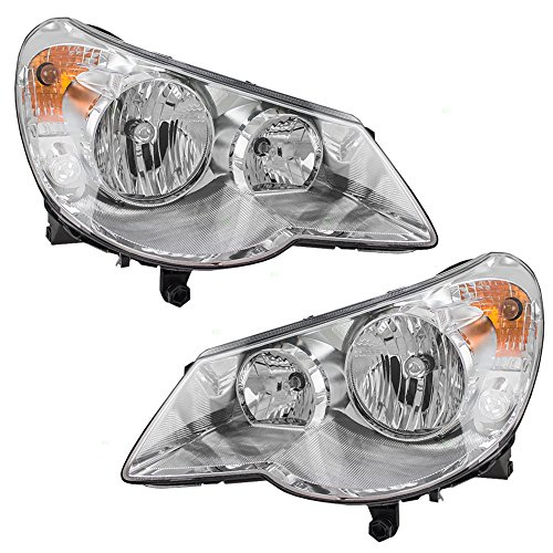 Pair Set Combination Headlights Type 1 Headlamps Replacement for 07-10 Chrysler Sebring 5303747AE 5303746AE AutoAndArt