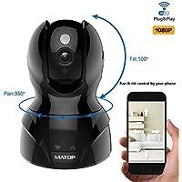 MATOP 1080P HD Cloud IP Camera,Pan & Tilt Control, Wi-Fi/Ethernet, Two-Way Audio, Night vision Surveillance Security Camera Free App (1080P, Black)