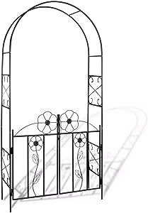 "Garden Metal Arbor,Gate Door Arbor Trellis Arbour Archway for Climbing Plants for Lawn Backyard Patio,45.3"" x 14.6"" x 90.6"" (L x W x H)"