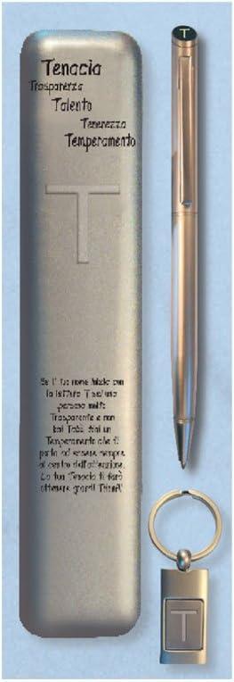 Set estuche bolígrafo con llavero letra T Cartal: Amazon.es: Oficina y papelería