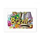 DIYthinker Soccer Oscar Niemeyer Brazil Graffiti Desktop Photo Frame White Picture Art Painting 5x7 inch