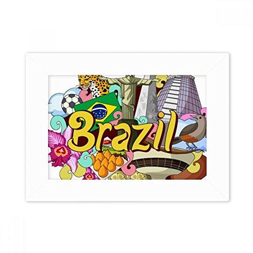 DIYthinker Soccer Oscar Niemeyer Brazil Graffiti Desktop Photo Frame White Picture Art Painting 5x7 inch by DIYthinker
