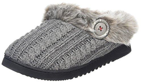 DearfoamsDearfoms Microsuede Clog With X-stitch and Memory Foam - Zapatillas bajas para mujer Gris (Dark Heather Gris 00073)
