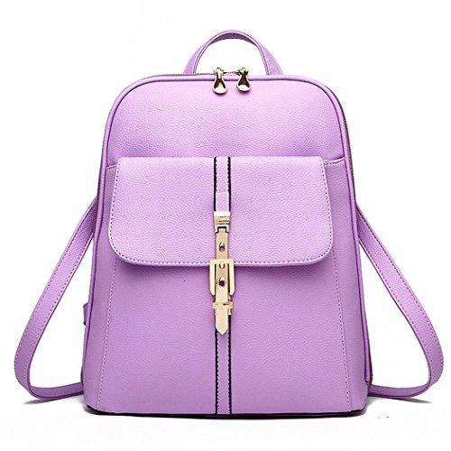 Mujer falso cuero mochila mochila mochila escuela bolsa de viaje de la oficina Violeta