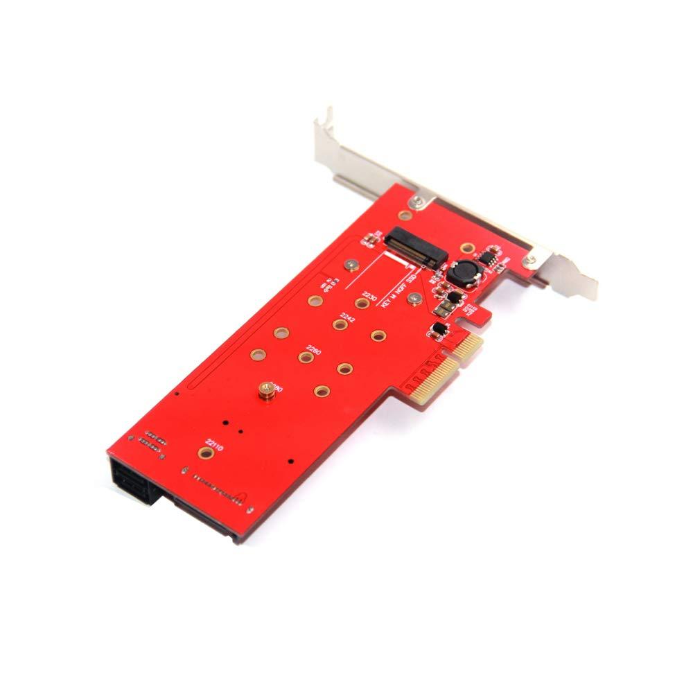 Adwits PCI Express 3.0 x16 a PCIe NVMe y AHCI SSD Adapter Card con disipador de Calor, se Ajusta al Factor de Forma M.2 (NGFF) con Clave M en tamañ o 2230/2242/2260/2280