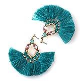 Badu Green Tassel Earrings Crystal Gold Drop Stud Earrings Waterdrop Jewelry (Green)