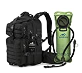 RUPUMPACK Military Tactical Backpack Hydration Backpack, Army MOLLE Bug Out Bag, Small 3-Day Rucksack for Outdoor Hiking Camping Trekking Hunting Black Daypack, 33L