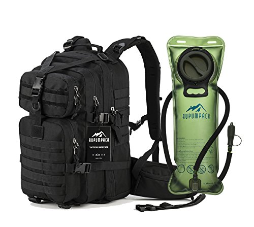 Hydration Daypacks - RUPUMPACK Military Tactical Backpack Hydration Backpack, Army MOLLE Bag, Small 3-Day Rucksack for Outdoor Hiking Camping Trekking Hunting Black Daypack, 33L