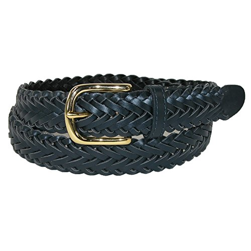Aquarius Boys' Braided Belt with Single Prong Buckle, Navy, (Aquarius Leather Belt)