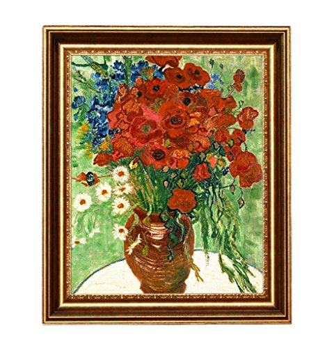 Eliteart-  Red Poppies and Daisies By Vincent Van Gogh Giclee Art Canvas Prints –Framed (Daisy Framed)