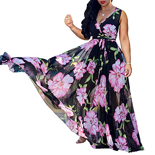 - WOOSEN Womens Summer Boho Chiffon Floral Print Maxi Dress Sleeveless V Neck Long Dresses with Belt Black