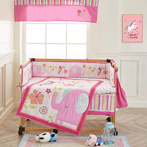 Wowelife Elephant Crib Bedding Sets for Girls Upgraded Pink Flower Birds 9 Piece Elephant Nursery Bedding for Baby Cotton with Bumpers and Diaper Stacker(Pink Elephant)