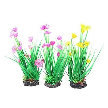 eDealMax Plantas acuario plástico del tanque de pescados de emulación Flores hierba Decoración 8,5